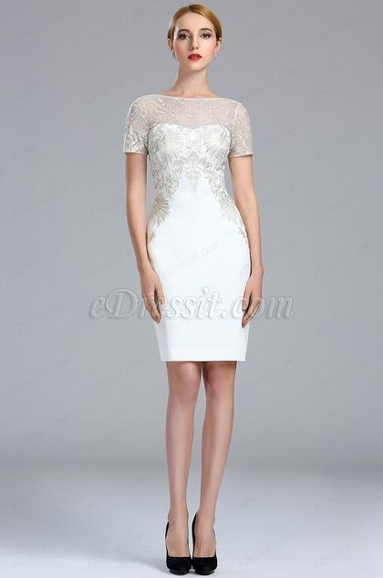eDressit White Short Sleeves Lace Appliques Cocktail dress (04173707)