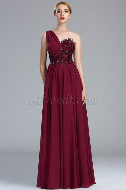 eDressit Burgundy Lace Appliques Fancy Evening Gown (00174117)