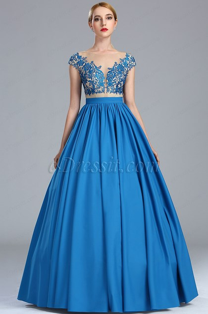 eDressit Blue Lace Appliques Fancy Quinceanera Ball Gown (02173905)