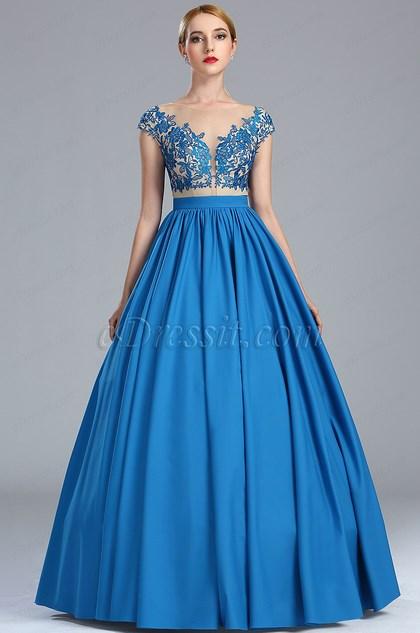 eDressit Blue Lace Appliques Fancy Quinceanera Ball Gown (02173905)