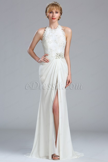 eDressit Halter White Beaded Lace Princess Wedding Dress (01173207)