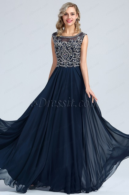 eDressit Blue Beaded A-line Prom Gown Formal Wear (36173105)