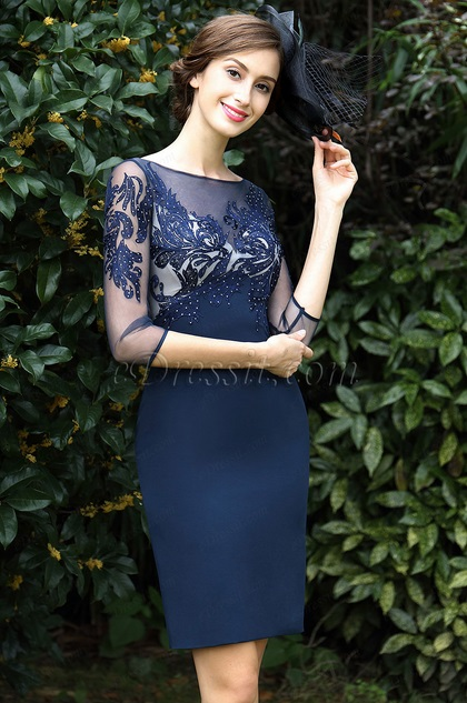 eDressit Blue Embroidery Beaded Mother of the Bride Dress (26171005)