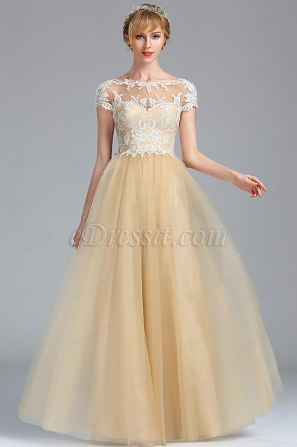 eDressit Short Sleeves Beige Lace Appliques Homecoming Prom Dress (02174414)