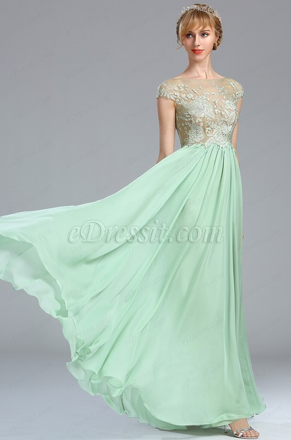 eDressit Green Floral Embroidery Beaded Evening Dress (00173104)