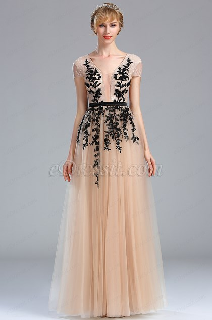 eDressit Beige Beaded Homecoming Long Lace Prom Dress (02173814)