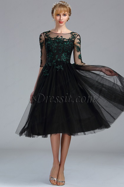 eDressit Black Half Sleeves Lace Appliques Cocktail Dress (04170400)