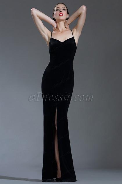 eDressit Sexy Velvet Spaghetti Black Tie Evening Dress (00181700)