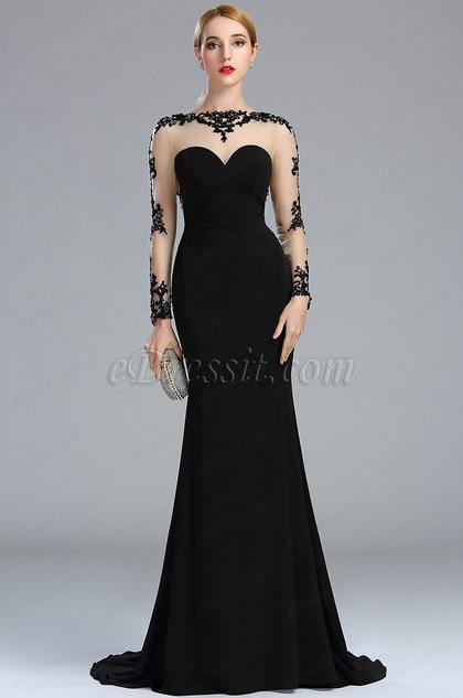 873bc87e27e8 eDressit Black Lace Appliques Beaded Mermaid Prom Dress (02173400)