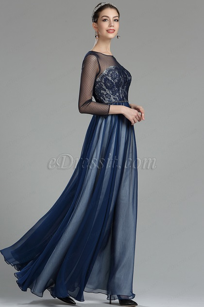 7146fd6903b eDressit Navy Blue Lace Evening Dress with Sleeves (02180405)