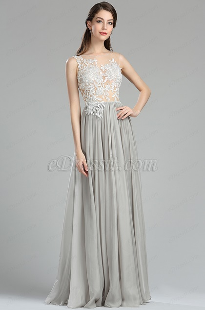 Grey floral lace fashion evening dress