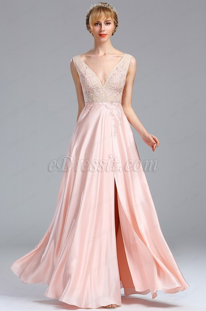 Sleeveless Pink Plunging V Neck Embroidery Casual Dress