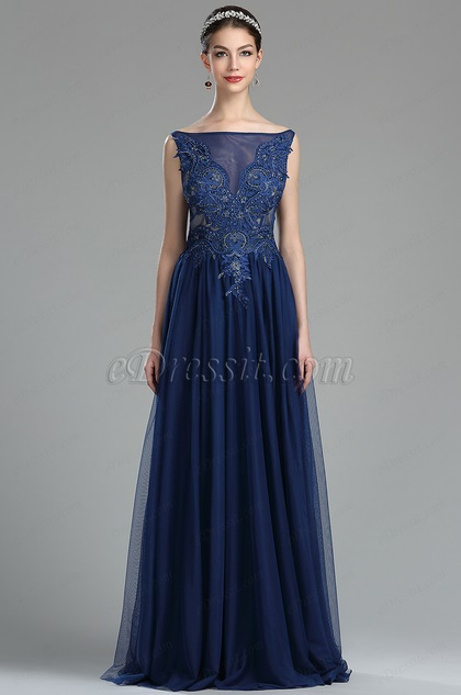 eDressit Elegant Blue Beaded Lace Appliques Ladies Dress (36174405)