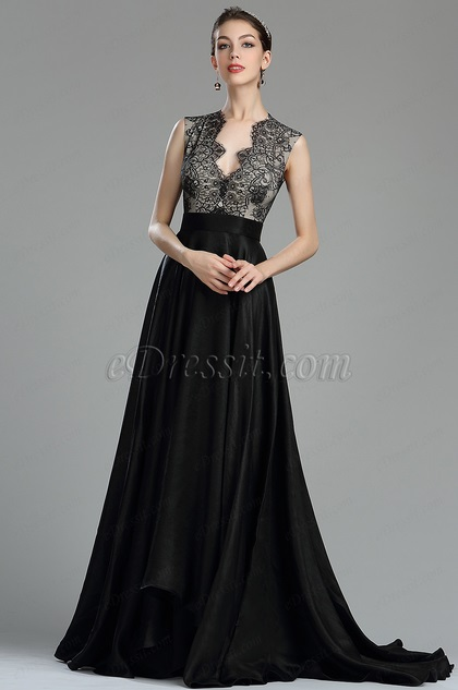 a616726bd181 eDressit Beautiful Black Long Lace Evening Dressing Gown(00180600)