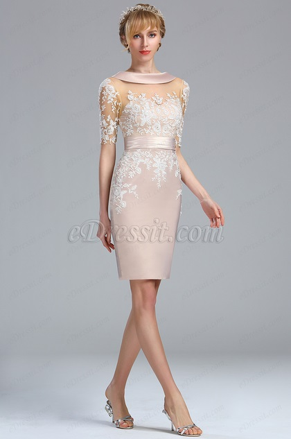 Edressit Half Sleeves Beige Lace Appliques Mother Of The