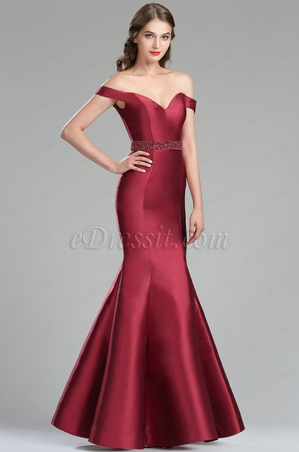 Edressit Vintage Red Off The Shoulder Prom Evening Gown