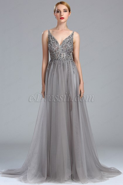 eDressit Grey Beaded Lace Long Formal Occasion Dress (02173208)