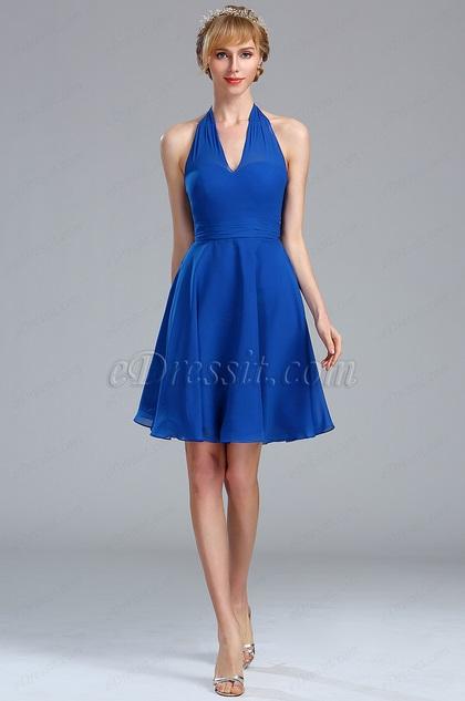 eDressit Halter Electric Blue Chiffon Velvet Short Dress (04173405)