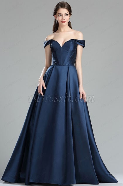 Edressit Dark Blue Off The Shoulder V Cut Puffy Prom Dress 36174205