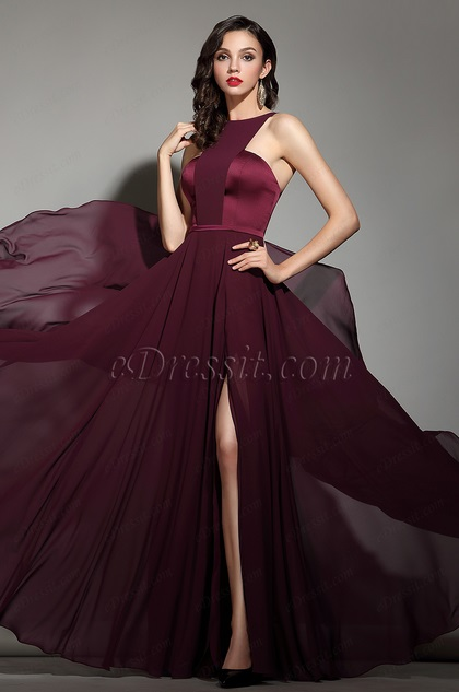 eDressit Elegant Burgundy Halter Red Carpet Chiffon Dress (00182017)