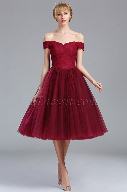 eDressit Off Shoulder Burgundy Lace Eveningl Party Dress (04173117)