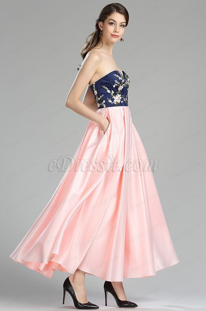 eDressit Strapless Blue & Pink Floral Satin Evening Dress (00181001)