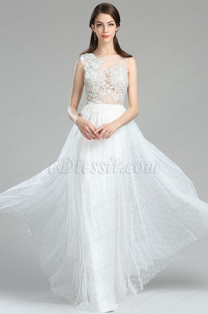 eDressit Sweet White Floral Lace Engagement Wedding Dress (00180307)
