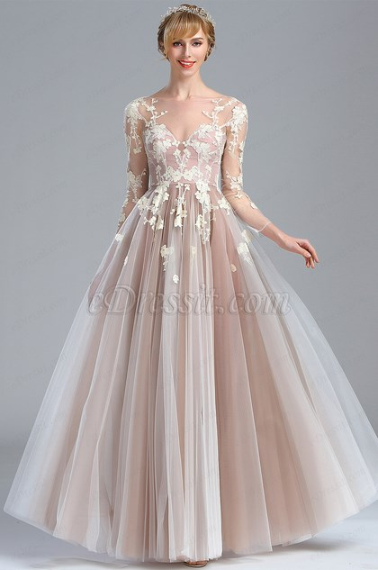 Elegant Long Sleeves Lace Appliques Fancy Prom Dress