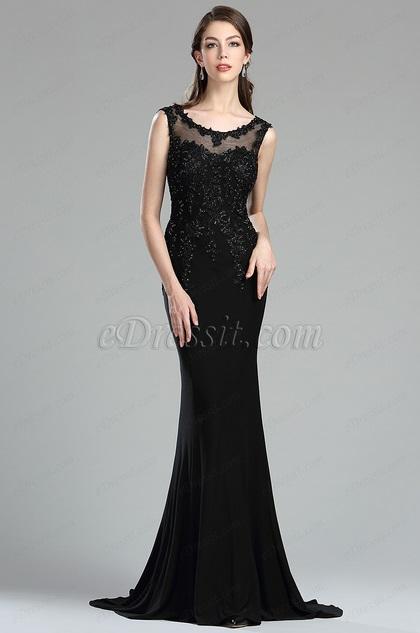 eDressit Black Backless Floral Lace Appliques Evening Dress (36174900)