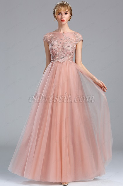 eDressit Pink Embroidery Beaded Pleated Prom Evening Dress (00173101)