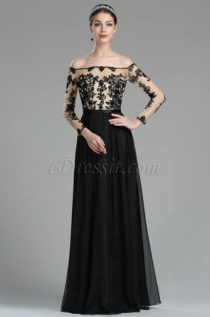Black Lace Appliques Formal Evening Gown with Sleeves (36174500)