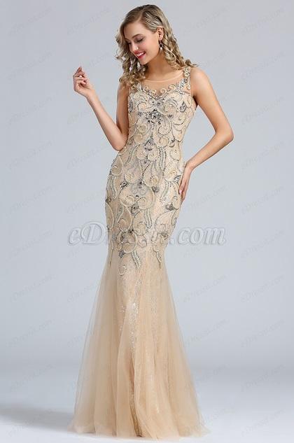 eDressit Sleeveless Beige Beaded Mermaid Prom Dress (36174014)