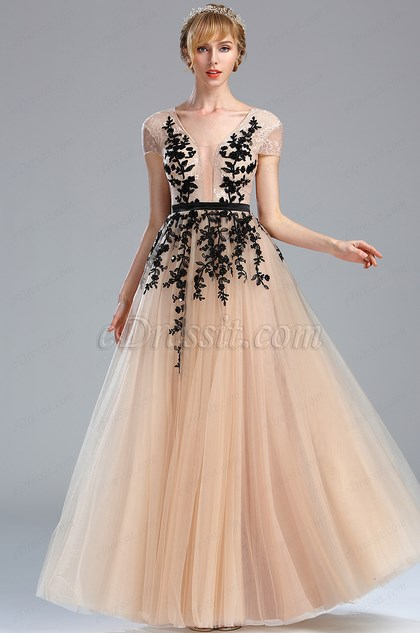 edressit beige beaded homecoming long lace prom dress