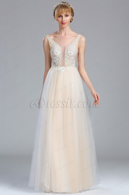 Sleeveless Ivory Lace Appliques Wedding Dress