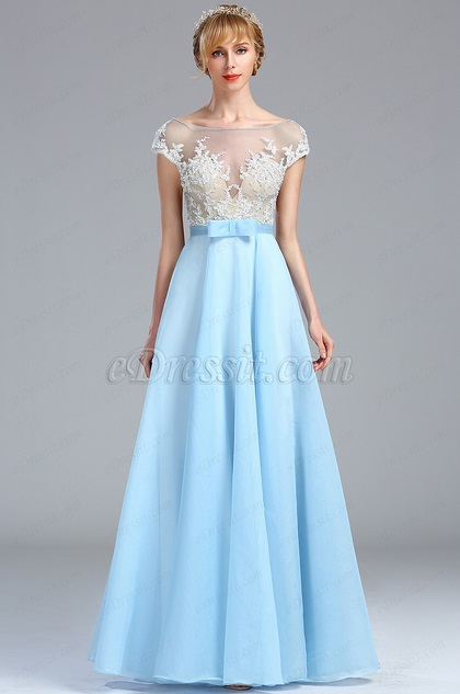 eDressit Cap Sleeves Ice Blue Lace Appliques Beaded Gown (00173705)