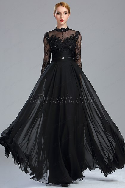 edressit long sleeves black lace beaded prom dress 2017. Black Bedroom Furniture Sets. Home Design Ideas