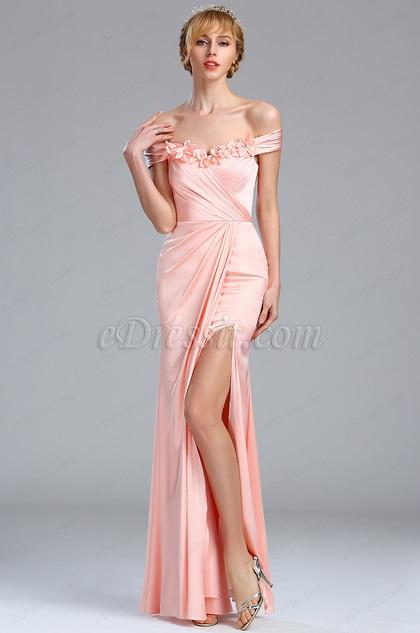 eDressit Off the Shoulder Tight Ruched Pink Floral Dress (00173601)