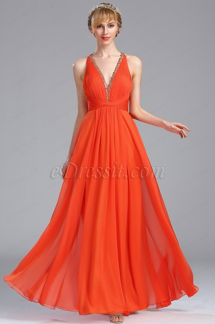 eDressit Tangerine Beaded V Neck Graduation Occasion Dress (00173210)
