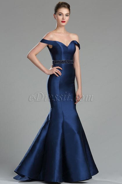 Elegant Navy Blue Off the shoulder Prom Evening Dress (36175305)