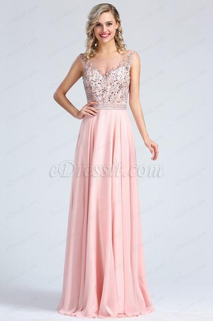 eDressit Sleeveless Pink Beaded Prom Evening Dress (36173001)