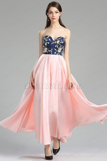 eDressit strapless pink floral satin evening dress