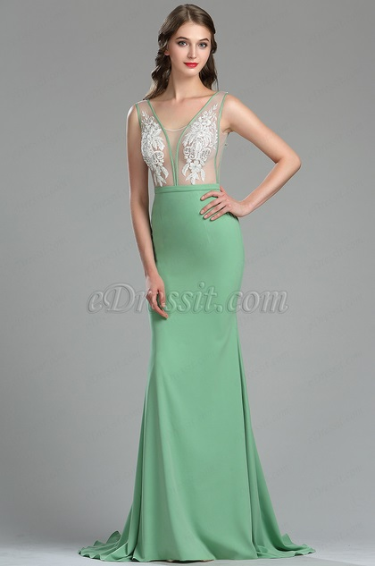 eDressit Elegant Green Floral Embroidery Summer Dress (02180304)