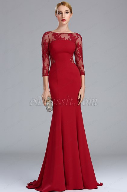 eDressit Deep Red Lace Formal Evening Dress with Sleeves (02173517)