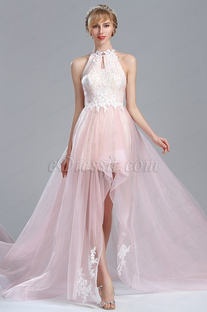 eDressit Light Pink Halter Lace Prom Mermaid Homecoming Dress (02174501)