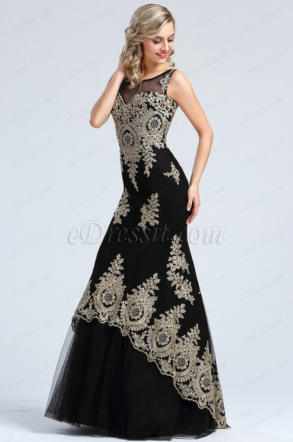 eDressit Stunning Gold Lace Appliques Prom Gown (36173400)