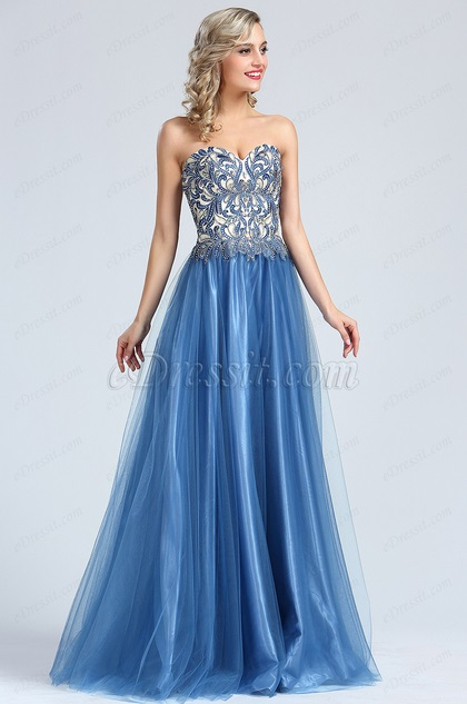 Strapless Blue Beaded Embroidery Evening Dress