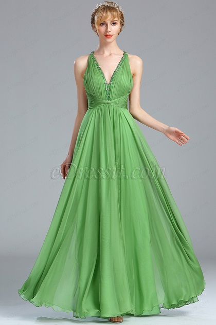 eDressit Green Plunging Beaded V Neck Evening Dress (00173204)