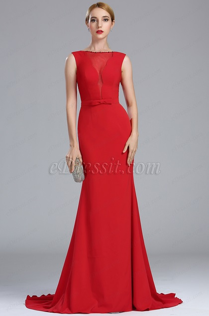 eDressit Elegant Red Long Mermaid Carpet Dress with Bowtie (00174202)