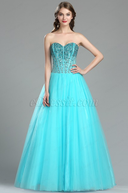 Aqua Blue Beaded Red Carpet Formal Dress