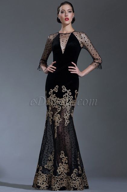 eDressit Black Sequin Lace Formal Evening Gown with Sleeves (02181500)